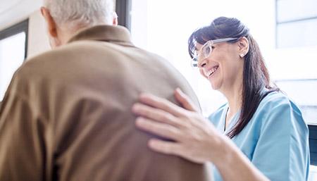 Caregiver helping